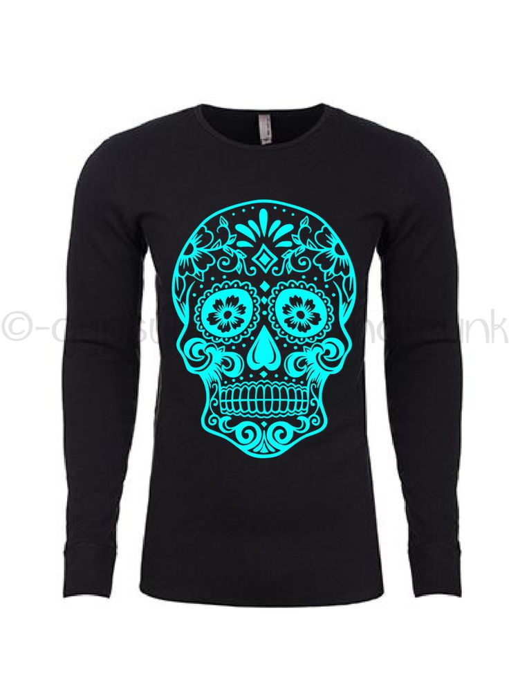 Sugar Skull Thermal Long Sleeve  Shirt - Sugar Skull Shirt - Day of the Dead Apparel - Skull Shirt - Skull Top - Day of the Dead Top by GypsyJunkClothing on Etsy