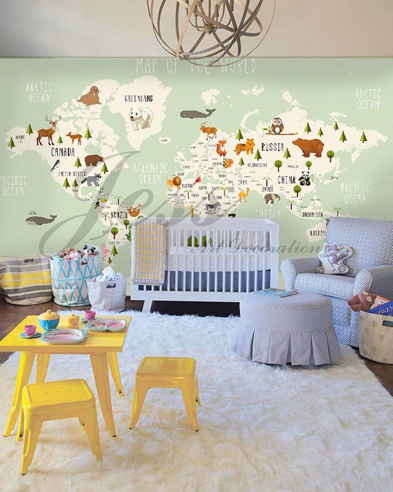 3d Nursery Kids Room Animal World Map Removable Wallpaper Etsy Kids Wall Decals Removable Wallpaper World Map Decor