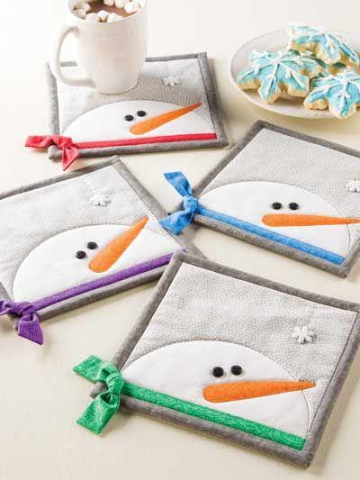 Snowman Family Mug Rug Set