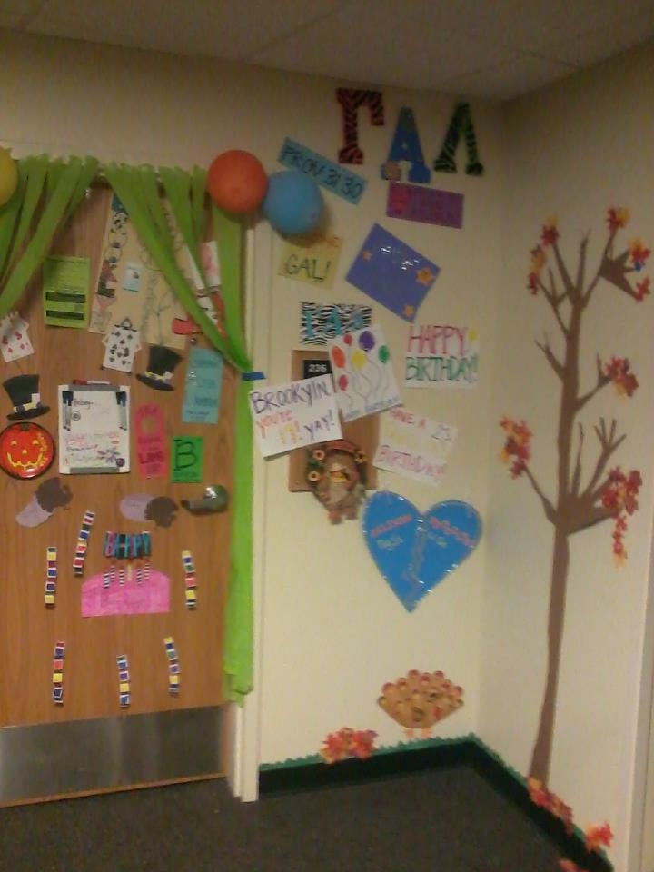 My Fall Tree I Made On The Outside Of My Dorm! Plus Birthday Decorations  People Part 26