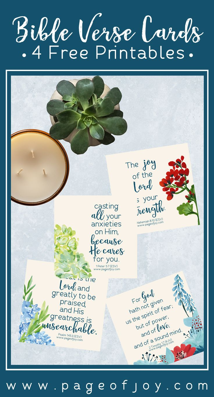 Inspirational Bible verse cards (free printables) from Page of Joy. These watercolor floral cards have inspiring scriptures with lovely florals that are perfect for spring and summer (Easter and teacher gifts).