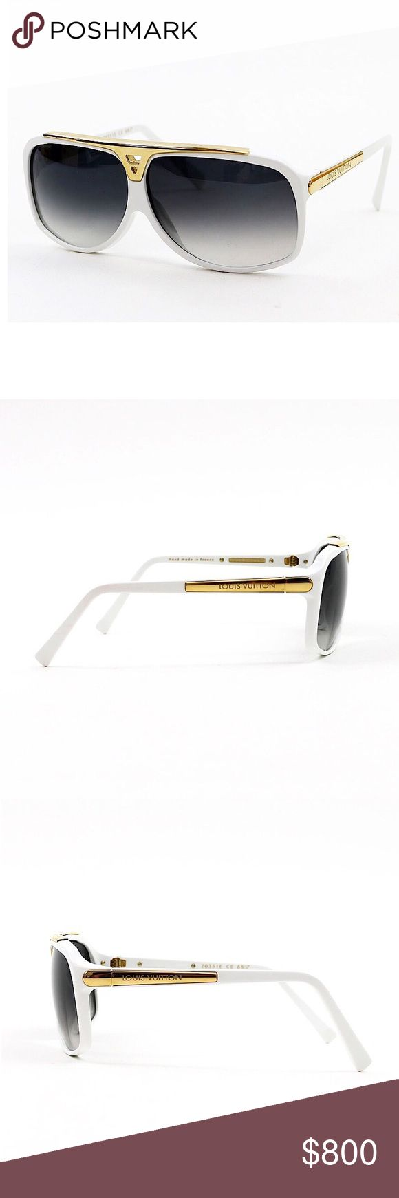 Authentic Vuitton White Evidence Z0351 Sunglasses Authentic Louis Vuitton White Evidence Z0351 Sunglasses  Includes LV Storage Box,Sunglasses Case,Dustbag,Booklet  Hand Made in France  Acetate Frame,Gradient Lenses,Gold Accents Louis Vuitton Accessories Sunglasses