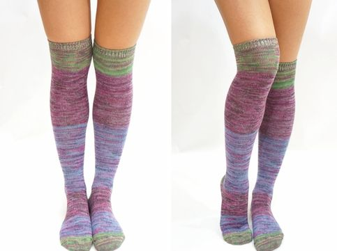 Pastel Block Knitted Thigh High Knee High Socks - Purple Green #sandysshop