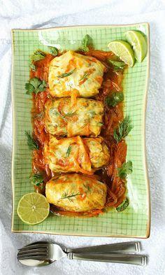 Turmeric and Saffron: Dolmeh Barg-e Kalam - Persian Stuffed Cabbage Leaves