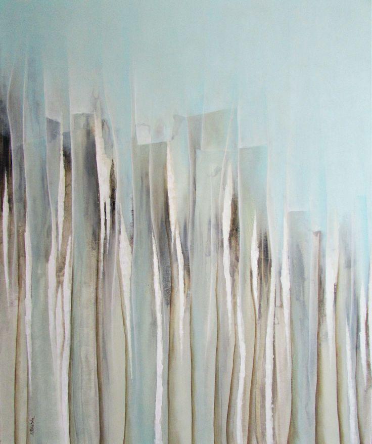 Duża abstrakcja w odcieniach seledynu i turkusu - obrazy abstrakcyjne Sylwia Michalska