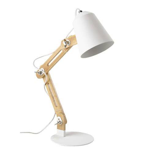 Bureaulamp, hout en metaal, zwart, hoogte 64 cm, SWEDEN
