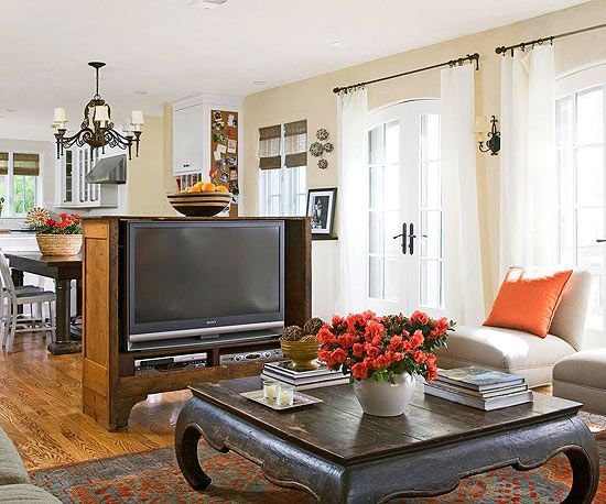 Establish Zones By Adding A Floating Media Console To Separate Rooms