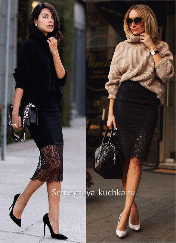 черная юбка-карандаш с кружевом