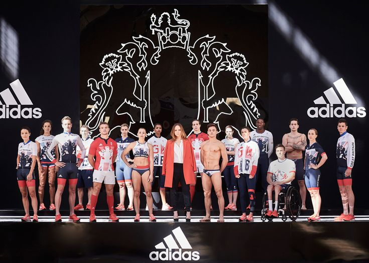 Stella McCartney with Team GB athletes at the unveiling of the new kits