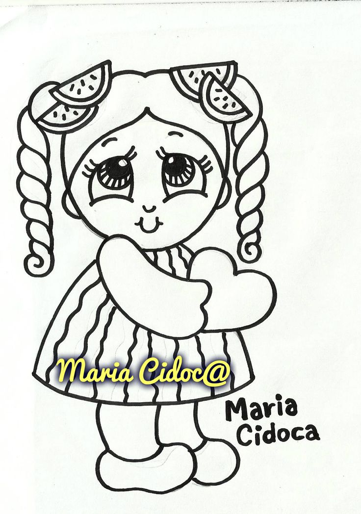Pin Do A Mariana Matias Em Desenhos Para Pintar: Menina Vestida De Melancia