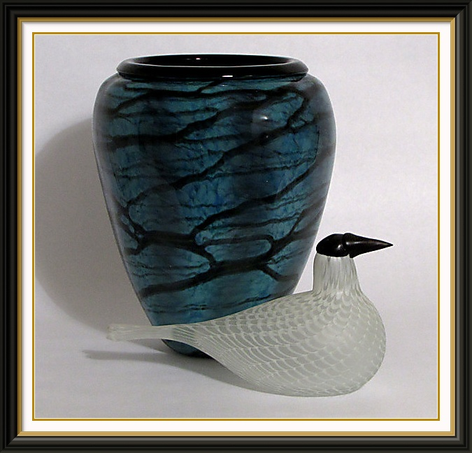 Studio photography Toikka glass bird with blown glass vase  $150
