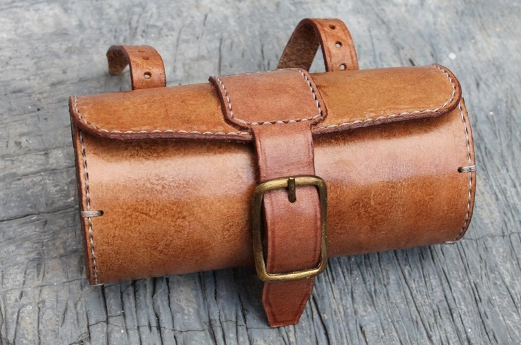 Handmade Bicycle Leather Tool Bag Saddle Bag Seat Bag Thick Natural VEG Tan | eBay
