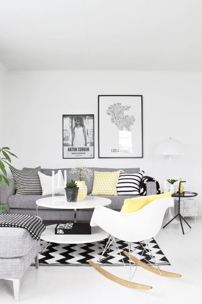 White And Grey Living Room With Pops Of Pepper U0026 Lemon And Use Of Geometric  Patterns Part 93