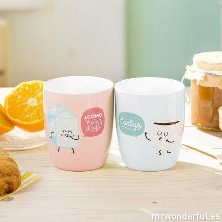 Set de 2 tazas ¿Cómo te gusta el café? Contigo - Rosa y azul ~ Mr. Wonderful