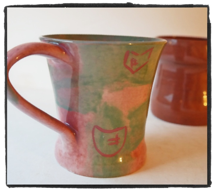earthenware cup, red clay, green decoration