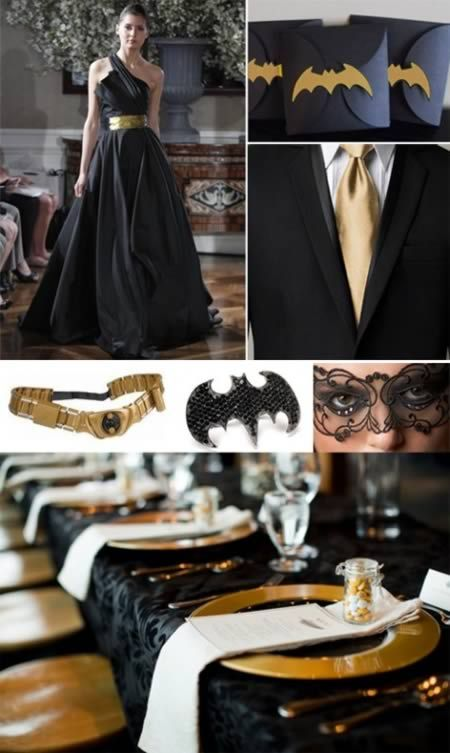If you thought superhero weddings are generally too casual, here are some classy, stunning gold and black wedding ideas all based on having an elegant Batman wedding. Bahahhaha  @Shawna Bergene Atchison