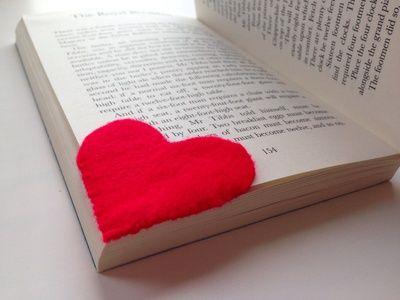 Hand sewn bookmark, bookmark kids craft, valentines craft, heart book mark