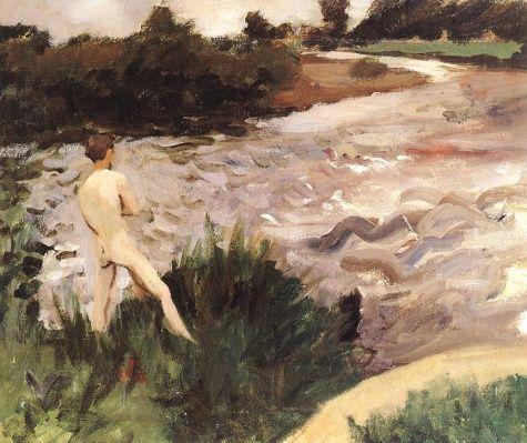 Karoly Ferenczy Gloomy - Landscape-with-bather - 1913