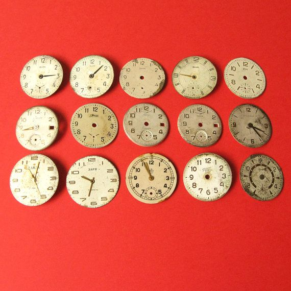 Vintage Watch Faces, Antique Dials Parts, Dials For Steampunk, Jewelry Projects, Old Watch Dials, Set Of Watch Faces