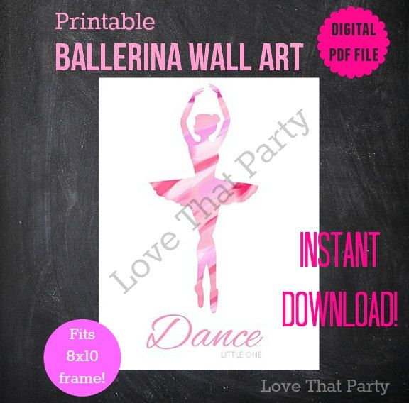 BALLERINA, BALLET, PRINT, Wall Art, Printable, Nursery Decor, Pink, Watercolor, 8x10, Pdf, Instant Download, Painted, Girls Room Art, Decor by LoveThatPartyInvites on Etsy