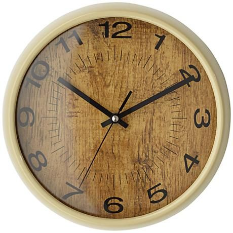 """Faux Wood And Black Transitional 10"""" Round Wall Clock"""