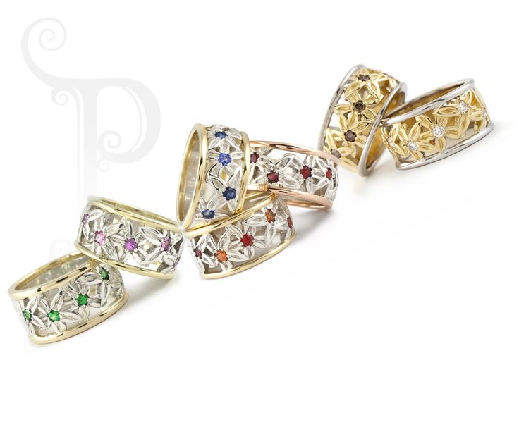 Handmade Argentium & 18ct yellow gold Cut Out Daisy Rings, Set With Semi precious gemstones