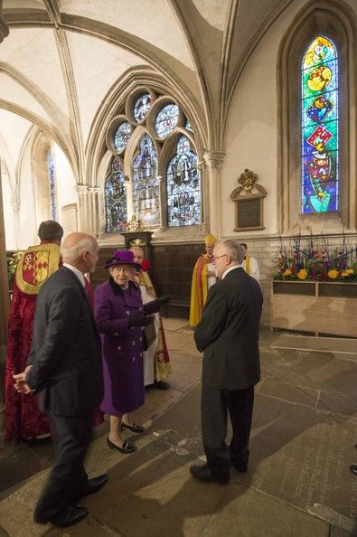 Queen Elizabeth II visits Southwark Cathedral on November 21, 2013 in London, England. Queen Elizbabeth II is visiting the Cathedral to view a new stained glass window that was created by Leifur Breidfjord to mark the Damond Jubilee