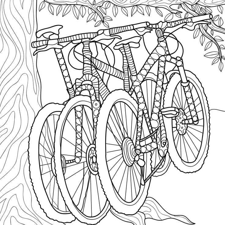 bicycles coloring page zentangle camping coloring book - Bicycle Coloring Book