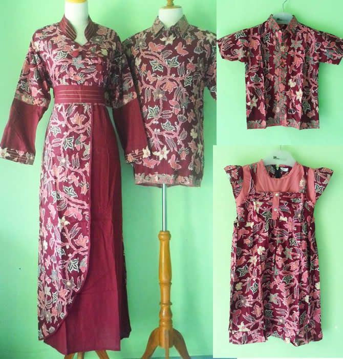 Baju Batik Sarimbit Gamis Keluarga Muslim Modern Marun