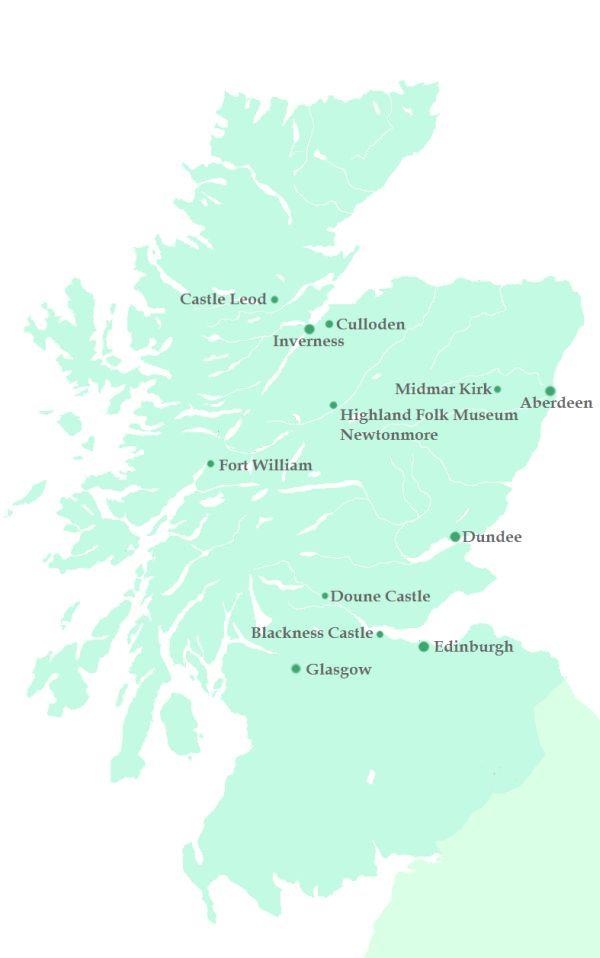 Schottland map Karte Outlander film locations Drehorte #Scotland