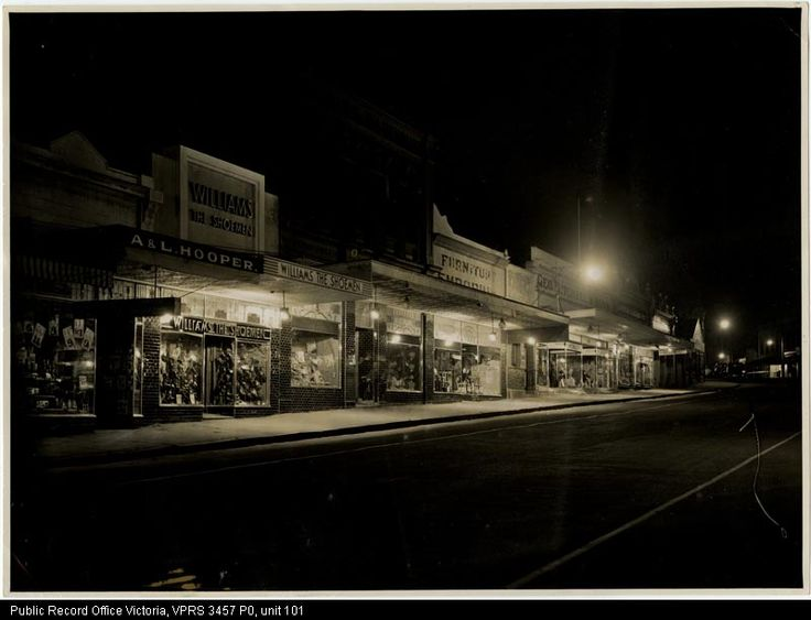 Main Street Stawell by night, Back of Photo: W.J. Chapman - photo artist, from the Borough of Stawell's files at PROV.