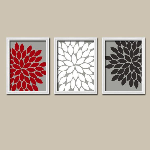 Red gray black wall art bedroom pictures canvas or for Red and gray bathroom sets