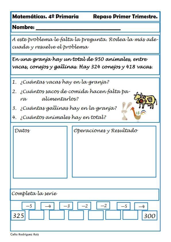 Matemáticas. Fichas para cuarto de primaria   Ejercicios ...