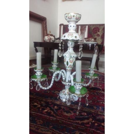Antique Crystal Glass Chandelier Bohemian Art Glass era 1850 (includes all the crystal decoration) with an extraordinary green and white color, hand engraved on a superb quality crystal.