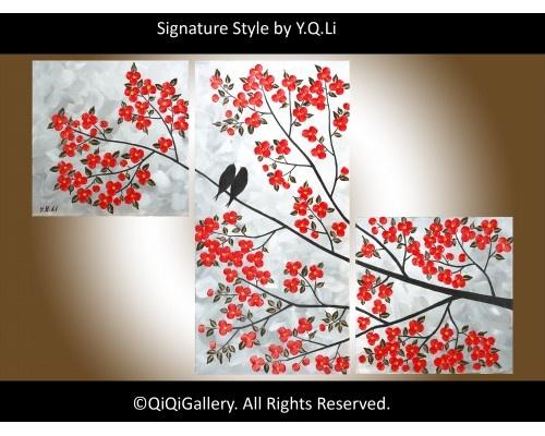 "Splendid Evening Abstract Landscape Acrylic Painting Original Modern Heavy Texture Impasto Palette Knife Love Birds Tree Wall Décor ""Splendid Evening"" by QiQiGallery, $245.00"