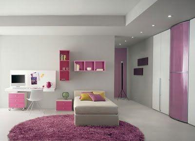 Decoracion Diseño: Dormitorio recamara para mujeres en colores gris y rosado