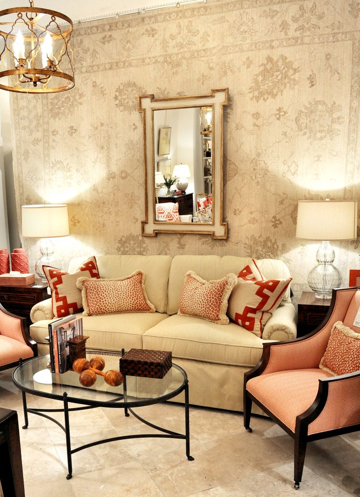 Salmon and neutrals living room vignette as seen in dc location