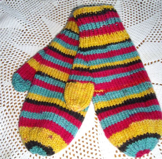 Multi Color Mittens for Teens or Adults by prudysknits1 on Etsy, $15.00