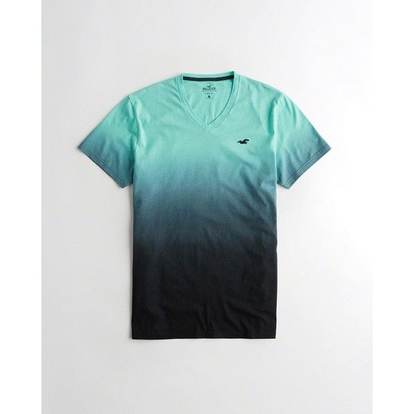 Hollister Must-Have V-Neck T-Shirt ($20) ❤ liked on Polyvore featuring men's fashion, men's clothing, men's shirts, men's t-shirts, blue ombre, mens ombre shirt, mens print shirts, mens blue v neck t shirt, mens blue leopard print shirt and mens patterned t shirts