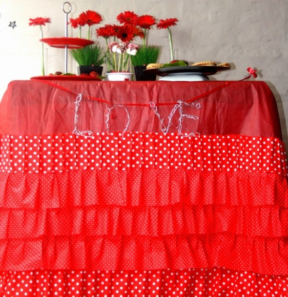Valentines Party- No Sew Frilly Fru Fru table cloth  We made this the night before for our little play date v-day party