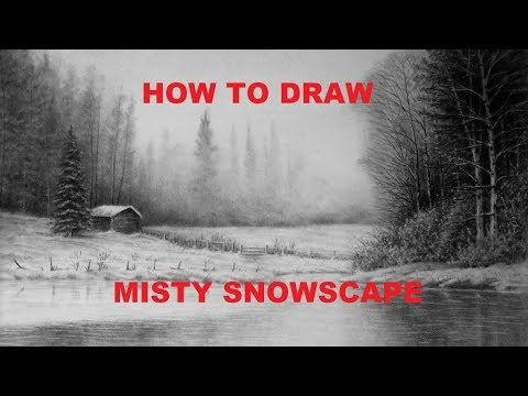 How to Draw a Misty Snowscape - For Beginners - Graphite Pencil Drawing Tutorials - YouTube
