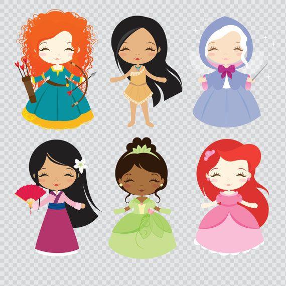 Princesses 02 Clipart Set – Instant Download – PNG Files