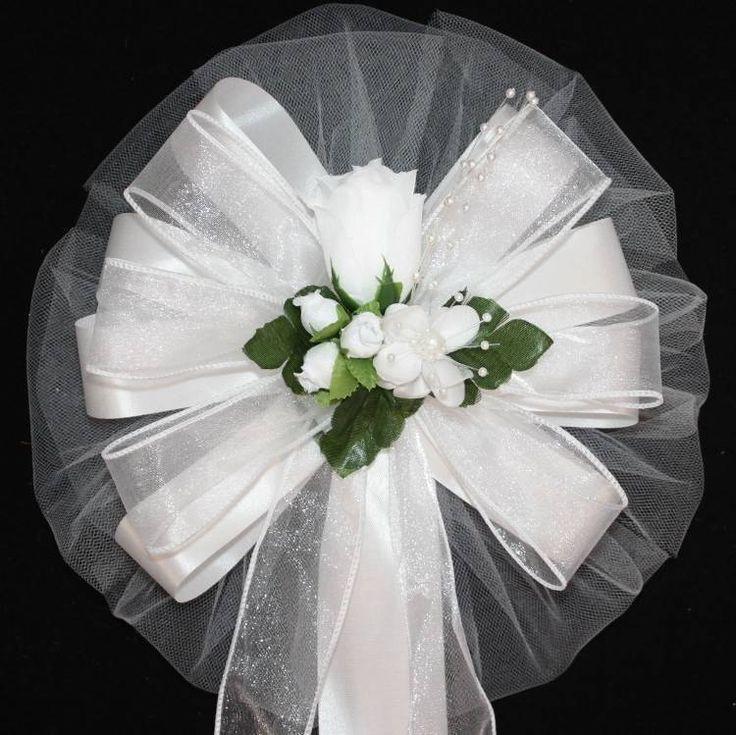 Classic White Rose Bud Wedding Pew Bows