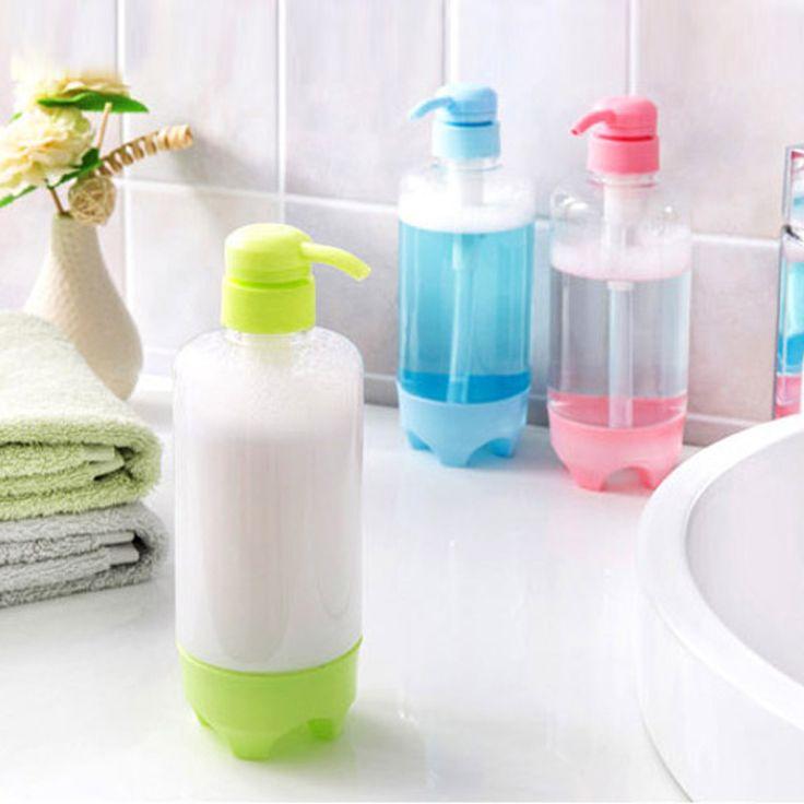 500 ml wskazał dnie Butelki Plastikowe Pompy Balsam Żel Pod Prysznic i Szampon/Szampon Butelkach Wielokrotnego Użytku Pusty Pojemnik Ciśnienia(China (Mainland))