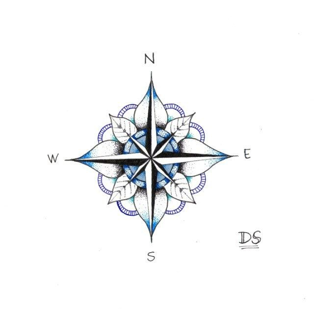 Compass by Diletta Strange Illustration, via Flickr - i love this, i want a compass tattoo and this made me fall in love with the idea