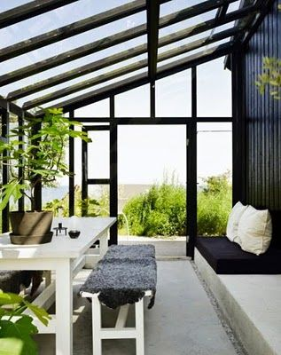 Sunny greenhouse/sunny room. Best to situate this to the east side of your house!