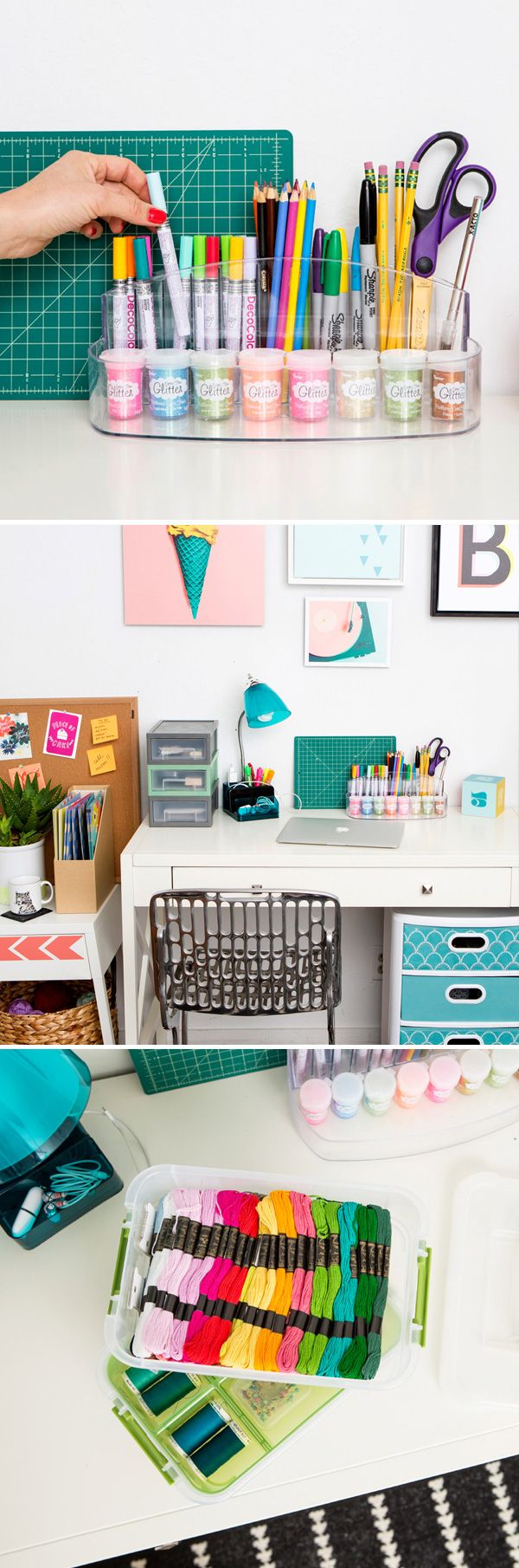 Get everything you need to get your desk organized at Target! Start by using this great 6 compartment counter tray, storage bins for your smaller items, and a stack and carry 3 tray organizer for all your other office essentials.