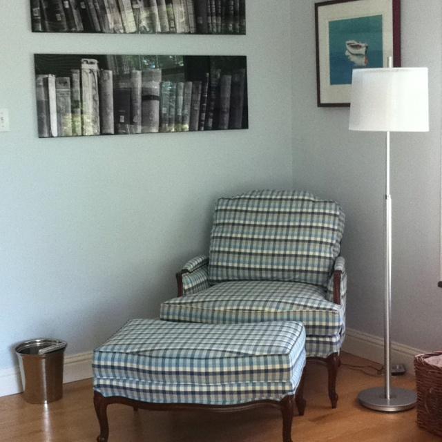 Reading corner in the master bedroom. Chair Ethan Allen