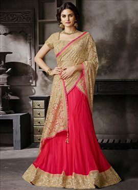 Peppy Satin N Net Jacquard Lehenga Saree