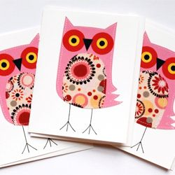 Tammy Lombardi of Tampa, Florida makes these wonderful, graphic cards with a cute, added touch of stitching...